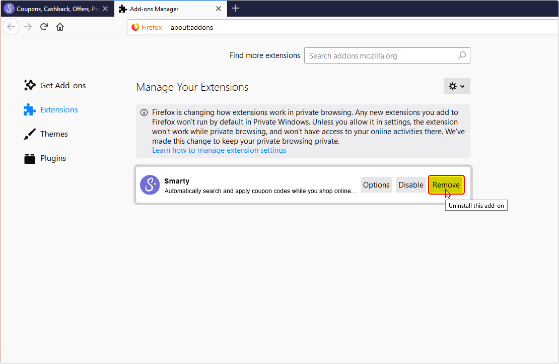 Firefox Extension Manager